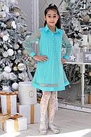 Детское нарядное платье для девочек «Бабочки»7-12лет,бирюзового цвета