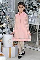 Детское нарядное платье для девочек «Бабочки»7-12лет,пудрового цвета