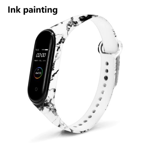 Силиконовый ремешок BOORUI на фитнес трекер Xiaomi mi band 4 / 3 браслет расцветка Чёрно-белая живопись