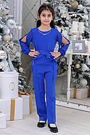 Детский стильный комбинезон для девочек с поясом7-12лет,синего цвета