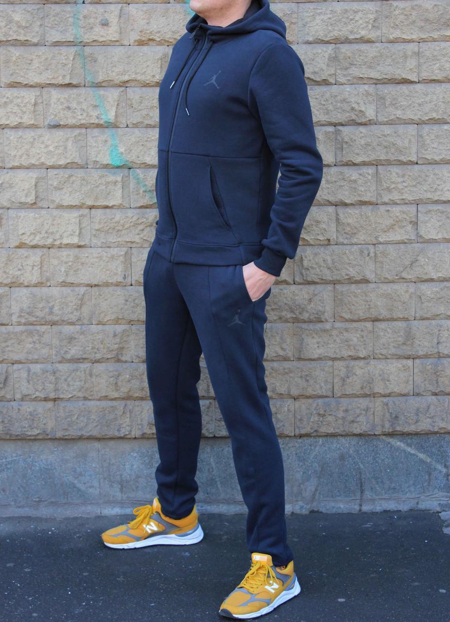 Зимний синий мужской трикотажный костюм Jordan на байке (Реплика)