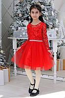 Детское нарядное платье для девочек «Узоры»7-12лет,красного цвета