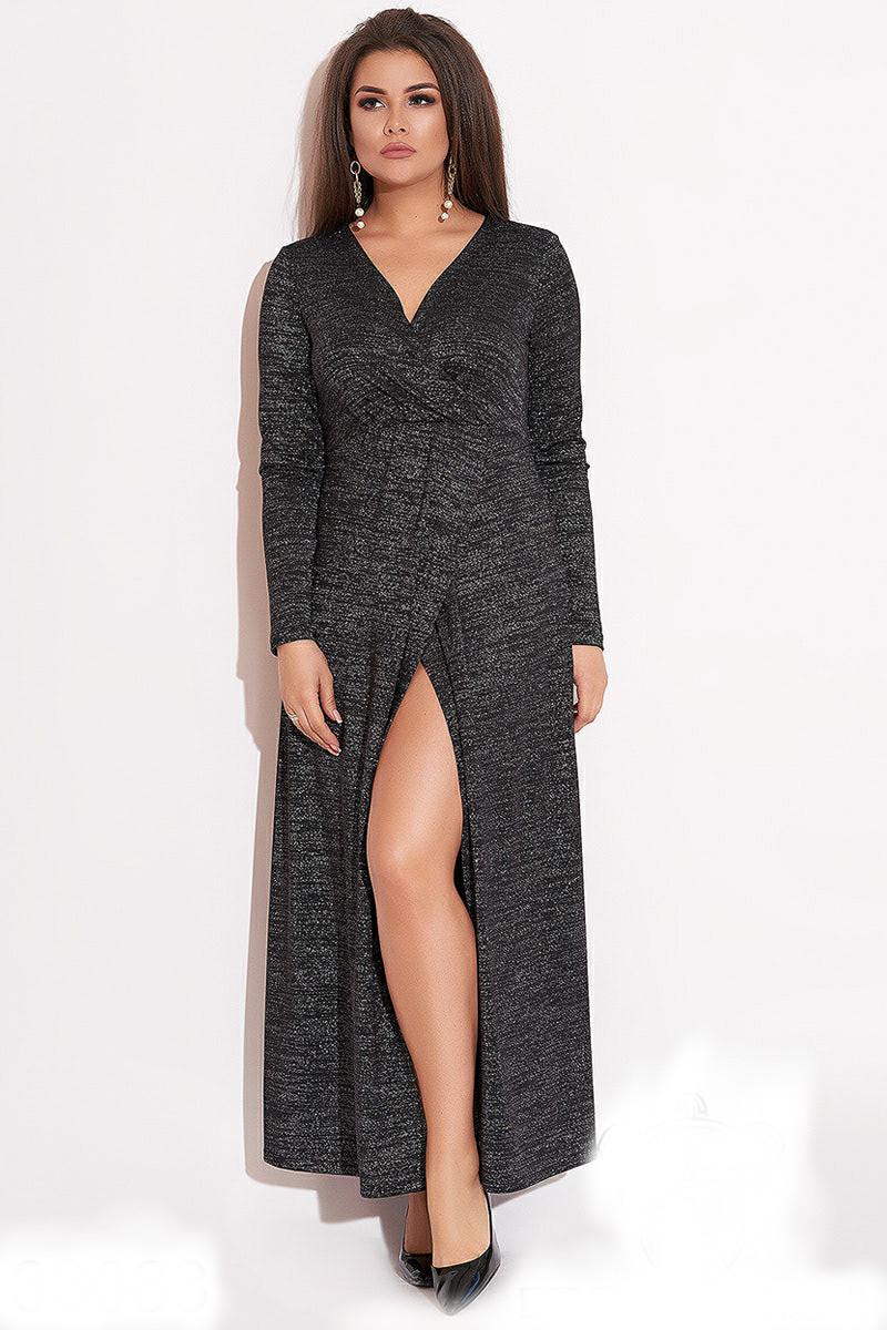 Вечернее платье на запах черного цвета
