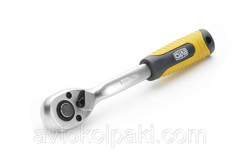 Ключ-трещотка CrV 1/2 72T (с изогнутой ручкой) Профи СИЛА