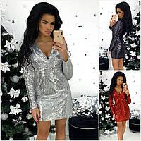 Р 42-46 Ошатне коротке плаття пайетка 20717, фото 1