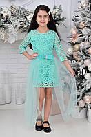 Детское нарядное платье для девочек кружевное с фатиновой юбкой7-12лет,бирюзового цвета