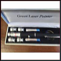Зеленая лазерная указка 5 в 1 LASER POINTER 1000 mW +5 насадок