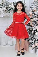 Детское нарядное платье для девочек в горошек7-12лет,красного цвета, фото 1