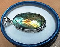 """Овальный  серебряный кулон с золотистым лабрадором """"Овальный 2"""", фото 1"""
