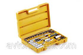 Набір насадок (інструментів) торцевих c тріскачкою стандарт CrV 3/8 (40 шт.) СИЛА