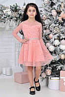 Детское нарядное платье для девочек в горошек7-12лет,пудрового цвета