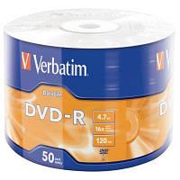 Диск (c50) DVD-R Verbatim /4.7GB/16x/50pcs Wrap-box 50pk Extra MATT SILVER (43791)