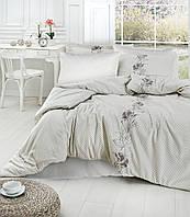 Комплект постельного белья First Choice Artemis Krem сатин 220-200 см кофе с молоком, фото 1