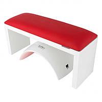 Подлокотник \ подставка для маникюра на белых ножках, 16*32*11 см. Красный