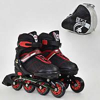 Ролики Best Roller черные, размер 35-38, колеса PU, в сумке - 185910
