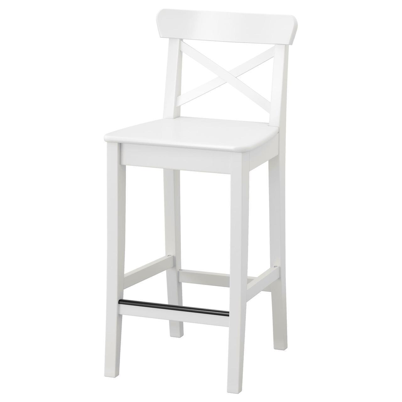 IKEA INGOLF Барний стілець зі спинкою, білий (101.226.47)