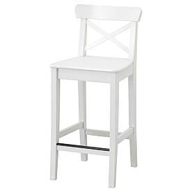 IKEA INGOLF Барный стул со спинкой, белый  (101.226.47)