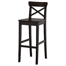 IKEA INGOLF Барный стул со спинкой, коричневый  (902.485.15)