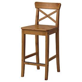 IKEA INGOLF Барный стул со спинкой, патине пятно  (002.178.01)