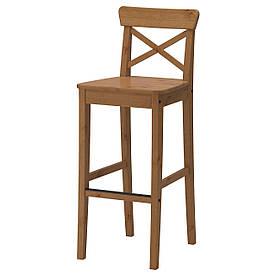 IKEA INGOLF Барний стілець зі спинкою, патині пляма (902.178.11)