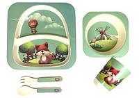 Набор детской посуды, бамбуковый ЛИСЕНОК: 2 тарелки, стаканчик,ложка,вилка