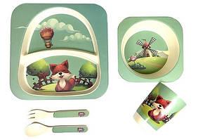 Набір дитячого посуду, бамбуковий ЛИСЕНЯ: 2 тарілки, стаканчик, ложка, виделка