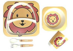 Набор детской посуды, бамбуковый ЛЕВА: 2 тарелки, стаканчик,ложка,вилка