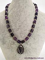 Ожерелье с подвеской из натурального камня аметист