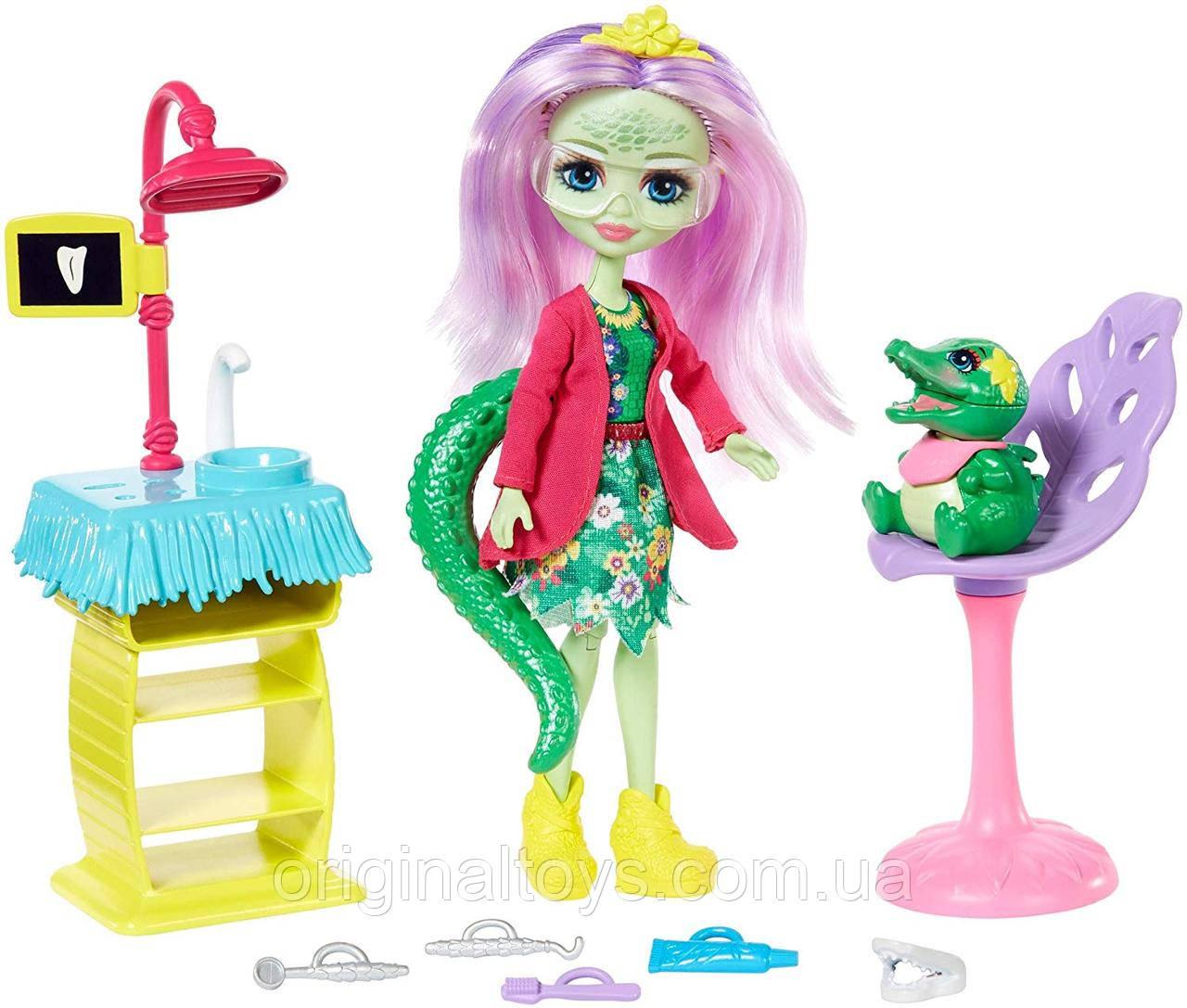 Набор Enchantimals кукла Стоматолог Аллигатор Энди и питомец