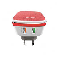 Быстрая сетевая зарядка LDNIO A2405Q Quick Charge 2.0 + кабель Lightining. Цвет Красно-белый. Original.