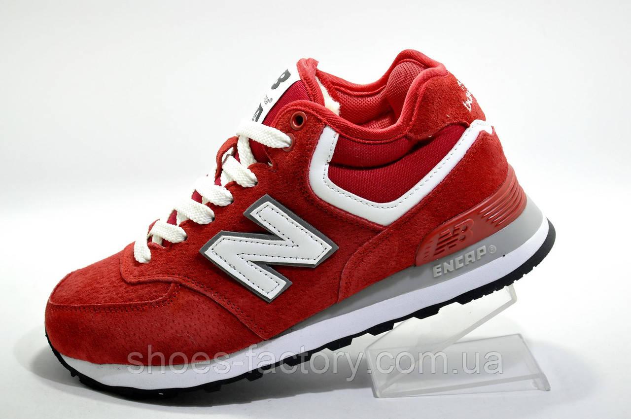 Зимние женские кроссовки в стиле New Balance 574, Red\White