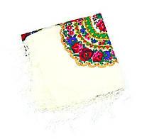 Украинский платок белый женский в цветах