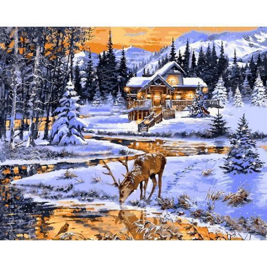 Картина по номерам Зимний вечер у реки (VP1203) 40 х 50 см DIY Babylon