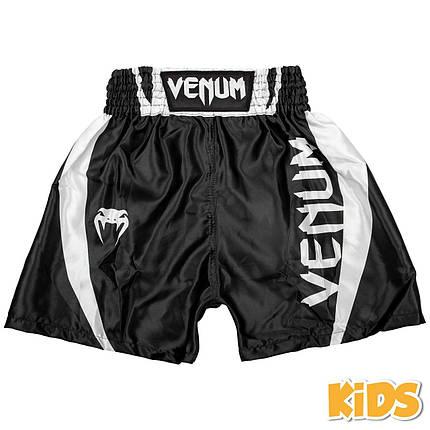 Детские шорты для бокса Venum Elite Boxing Shorts Black White, фото 2