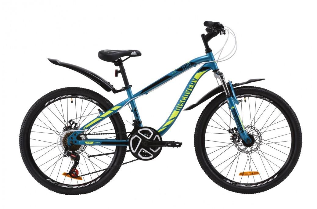 """Велосипед для подростка 24"""" Discovery Flint AM DD 2020 стальная рама 13"""" дисковые тормоза лазурно-желтый с черным"""