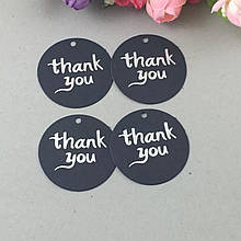 Бирка для подарков Thank you черная (0012)