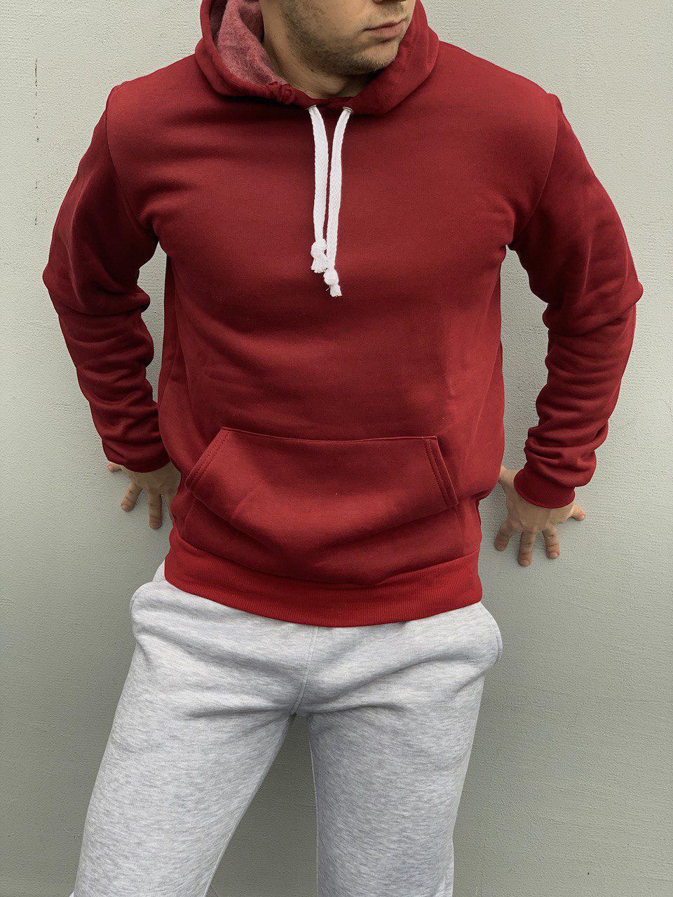 Мужское бордовое базовое худи с флисом