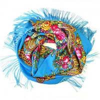 Женский зимний платок с бахромой голубой