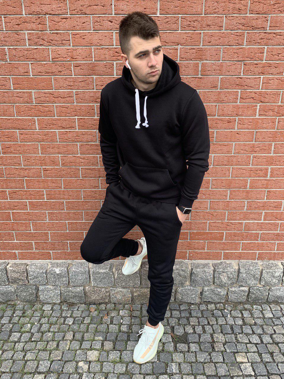 Мужской спортивный костюм флисовый с капюшоном черный