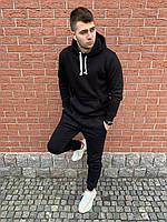 Мужской спортивный костюм флисовый с капюшоном черный, фото 1