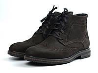 Зимние ботинки броги замшевые на меху коричневые мужская обувь большой размер Rosso Avangard Brogue Brown BS, фото 1
