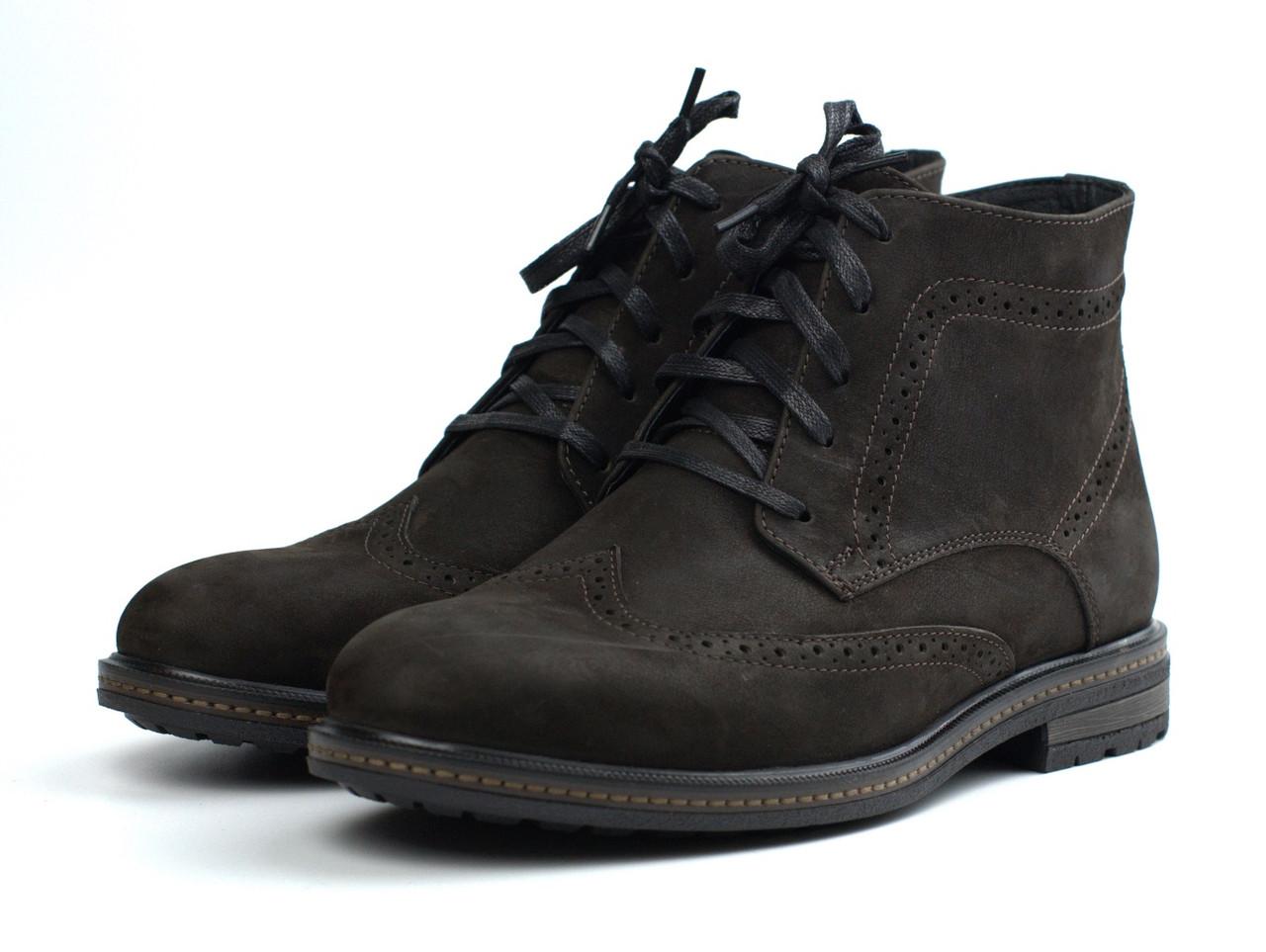 Зимние ботинки броги замшевые на меху коричневые мужская обувь большой размер Rosso Avangard Brogue Brown BS