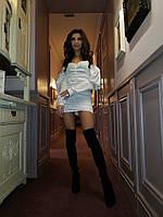 Платье женское стильное атлас Армани со сборкой открытыми плечами мини Smm3905