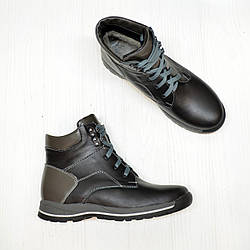 Ботинки кожаные подростковые для мальчика, цвет серый/черный