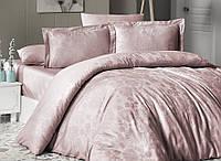 Комплект жаккардового постельного First choice Herra Pudra евро размера пудра