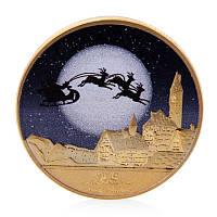 Позолоченная сувенирная монета на подарок - С Новым Годом и счастливого Рождества