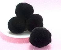 (1шт) Помпон из эко меха, диаметр ≈3,5-4см Цвет - Чёрный