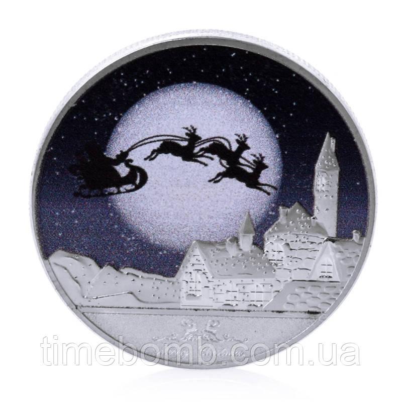 Посеребренная сувенирная монета ''С Новым Годом и счастливого Рождества''