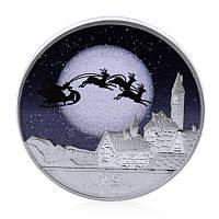 Посеребренная сувенирная монета на подарок - С Новым Годом и счастливого Рождества