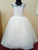 6.214 Блестящее белое нарядное детское платье-маечка с вышивкой и корсом на 6 лет